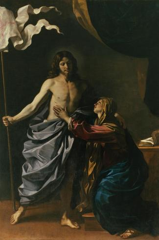 Christ Risen Appears to His Mother, 1629-Guercino (Giovanni Francesco Barbieri)-Stretched Canvas Print
