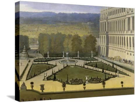 Promenade de Louis XIV en vue du Parterre du Nord dans les jardins de Versailles vers 1688-Etienne Allegrain-Stretched Canvas Print