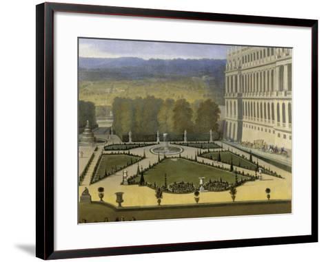 Promenade de Louis XIV en vue du Parterre du Nord dans les jardins de Versailles vers 1688-Etienne Allegrain-Framed Art Print
