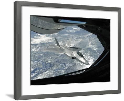 F-22 Raptor Banks Away from a KC-135 Statotanker During a Refueling Operation-Stocktrek Images-Framed Art Print