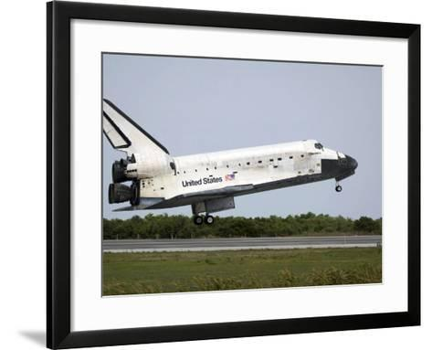Space Shuttle Discovery Approaches Landing on the Runway at the Kennedy Space Center-Stocktrek Images-Framed Art Print