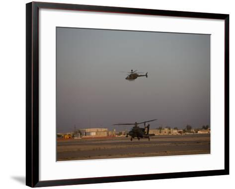 AH-64 Apache Helicopter Waits for an OH-58 Kiowa to Clear His Flight Space-Stocktrek Images-Framed Art Print