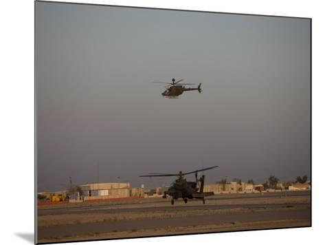 AH-64 Apache Helicopter Waits for an OH-58 Kiowa to Clear His Flight Space-Stocktrek Images-Mounted Photographic Print