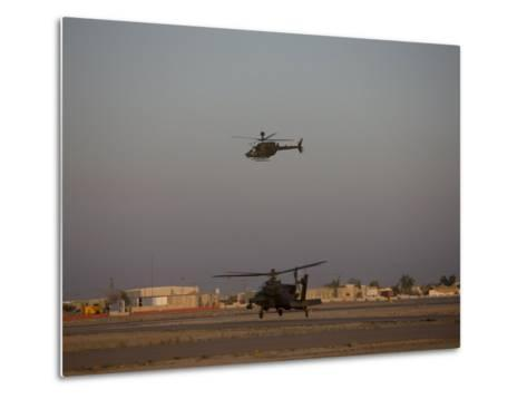 AH-64 Apache Helicopter Waits for an OH-58 Kiowa to Clear His Flight Space-Stocktrek Images-Metal Print