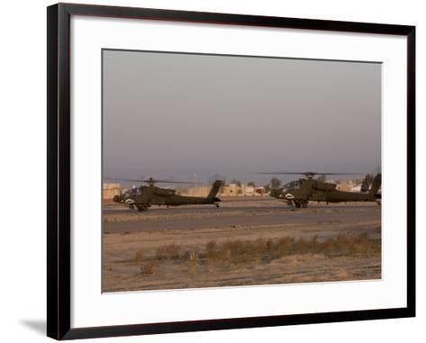 Pair of AH-64 Apache Helicopters Prepare for Takeoff-Stocktrek Images-Framed Art Print