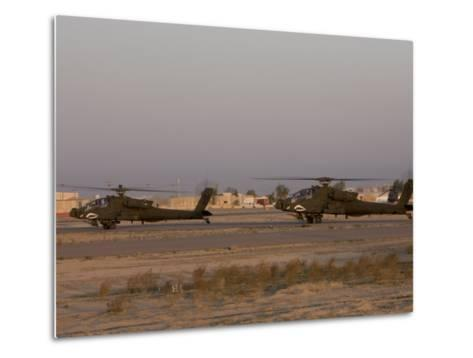 Pair of AH-64 Apache Helicopters Prepare for Takeoff-Stocktrek Images-Metal Print