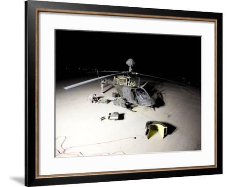 Maintenance Crew Works on Servicing the OH-58 Kiowa before its Next Mission-Stocktrek Images-Framed Art Print