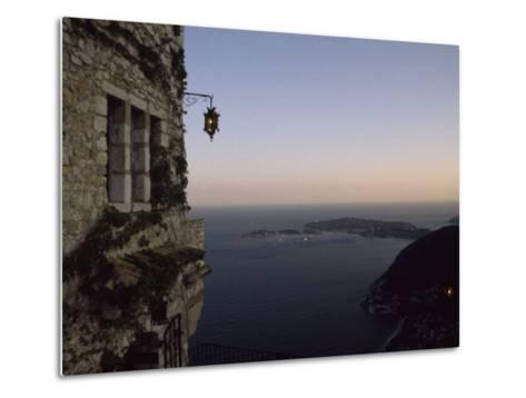 Twilight View of Small Islands and Hilly Shoreline of Eze, France-Marcia Kebbon-Metal Print