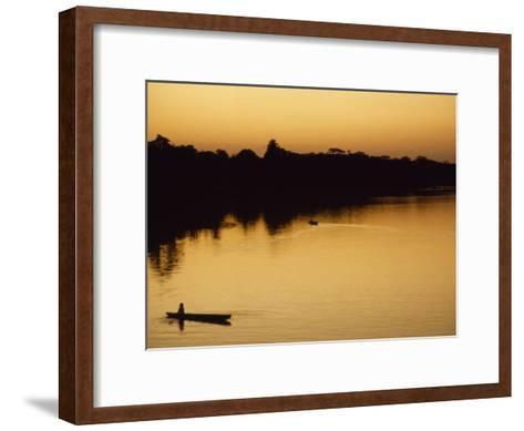 People in Canoes on the Calm Waters of the Amazon River, Amazon River, Colombia and Peru-Marcia Kebbon-Framed Art Print
