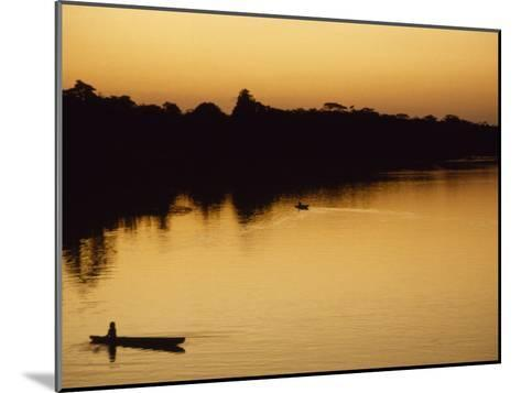 People in Canoes on the Calm Waters of the Amazon River, Amazon River, Colombia and Peru-Marcia Kebbon-Mounted Photographic Print