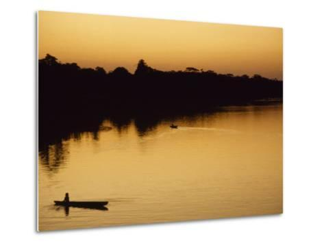 People in Canoes on the Calm Waters of the Amazon River, Amazon River, Colombia and Peru-Marcia Kebbon-Metal Print
