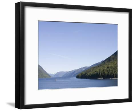 Fishing Boat Passes Through the Narrow Fjord, Inside Passage, British Columbia, Canada-Taylor S^ Kennedy-Framed Art Print