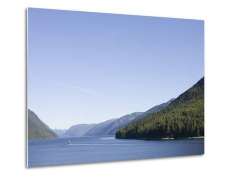 Fishing Boat Passes Through the Narrow Fjord, Inside Passage, British Columbia, Canada-Taylor S^ Kennedy-Metal Print