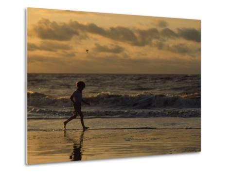 Five Year Old Boy Runs Through the Surf, Tybee Island, Georgia-Brian Gordon Green-Metal Print