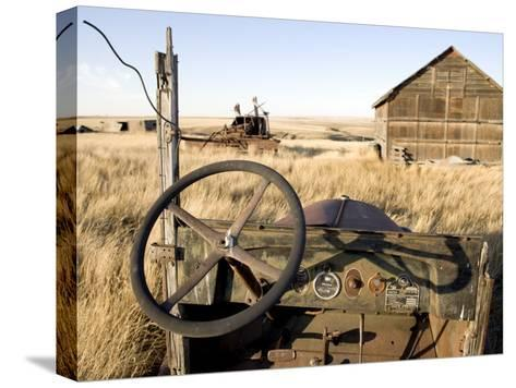 Abandoned Car and Farmstead Near White Bear, Saskatchewan, Canada-Pete Ryan-Stretched Canvas Print