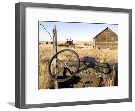 Abandoned Car and Farmstead Near White Bear, Saskatchewan, Canada-Pete Ryan-Framed Art Print