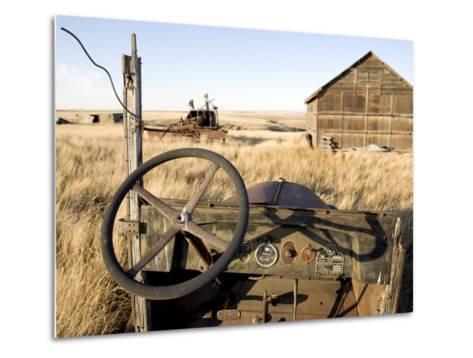 Abandoned Car and Farmstead Near White Bear, Saskatchewan, Canada-Pete Ryan-Metal Print