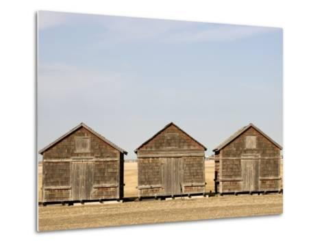 Exterior View of Old Granaries, Saskatchewan, Canada-Pete Ryan-Metal Print