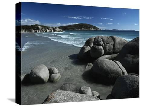 White, Rolling Surf Peels onto a Pristine Beach on a Summers Day-Jason Edwards-Stretched Canvas Print