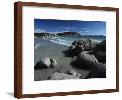 White, Rolling Surf Peels onto a Pristine Beach on a Summers Day-Jason Edwards-Framed Art Print