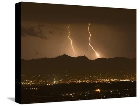 Lightning Bolt Strikes Out of a Typical Monsoonal Lightning Storm, Tucson, Arizona-Mike Theiss-Stretched Canvas Print