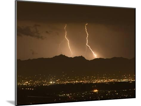 Lightning Bolt Strikes Out of a Typical Monsoonal Lightning Storm, Tucson, Arizona-Mike Theiss-Mounted Photographic Print