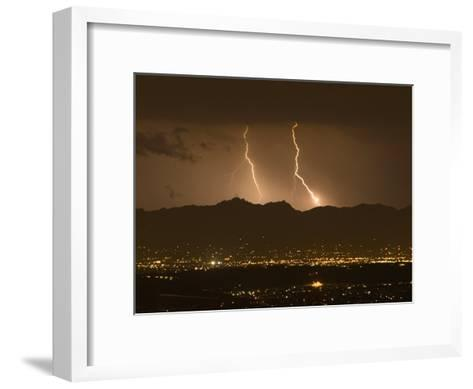 Lightning Bolt Strikes Out of a Typical Monsoonal Lightning Storm, Tucson, Arizona-Mike Theiss-Framed Art Print