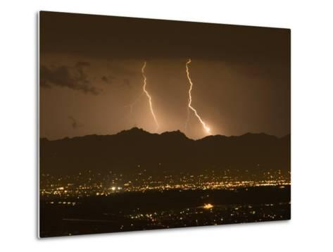 Lightning Bolt Strikes Out of a Typical Monsoonal Lightning Storm, Tucson, Arizona-Mike Theiss-Metal Print