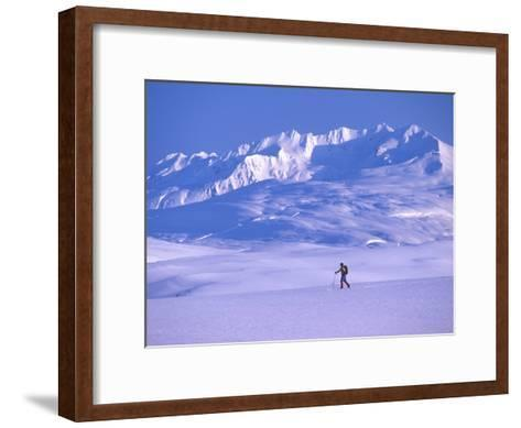 Cross-Country Skier in an Arctic Landscape, Yukon Mountains, Canada-Nick Norman-Framed Art Print