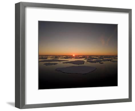 Beautiful Sunset over an Arctic Ice Field, Svalbard, Norway-Norbert Rosing-Framed Art Print