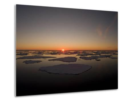 Beautiful Sunset over an Arctic Ice Field, Svalbard, Norway-Norbert Rosing-Metal Print