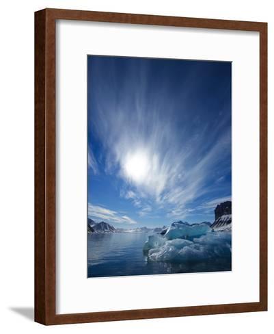 Blue Ice under a Blue Sky with Streaky Clouds, Hornsund, Spitsbergen Island, Svalbard, Norway-Ralph Lee Hopkins-Framed Art Print