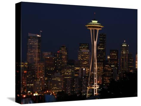 View of the Space Needle and Seattle's Skyline at Night, Washington-Darlyne A^ Murawski-Stretched Canvas Print