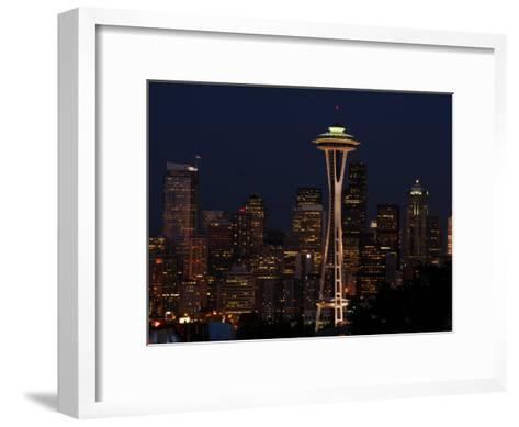 View of the Space Needle and Seattle's Skyline at Night, Washington-Darlyne A^ Murawski-Framed Art Print