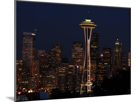 View of the Space Needle and Seattle's Skyline at Night, Washington-Darlyne A^ Murawski-Mounted Photographic Print