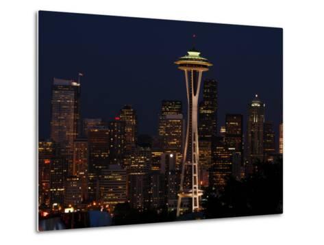 View of the Space Needle and Seattle's Skyline at Night, Washington-Darlyne A^ Murawski-Metal Print