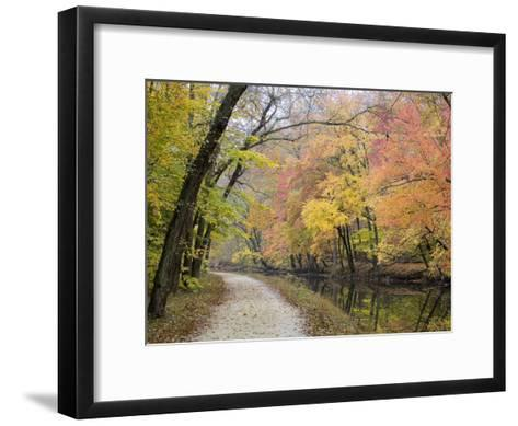 Towpath Along the Chesapeake and Ohio Canal One Autumn Day-Skip Brown-Framed Art Print