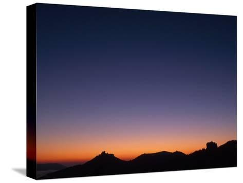 Dawn over Castle Trifels Near Town of Annweiler-Norbert Rosing-Stretched Canvas Print