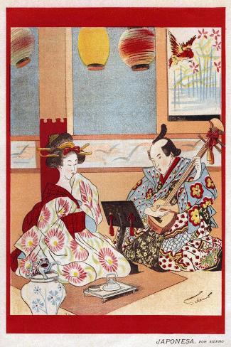 Japanese Music Scene, Magazine Plate, Japan, 1898--Stretched Canvas Print