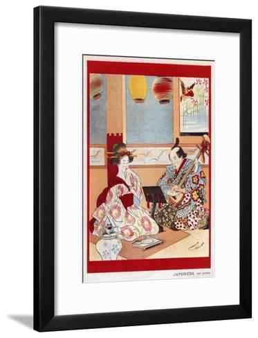 Japanese Music Scene, Magazine Plate, Japan, 1898--Framed Art Print