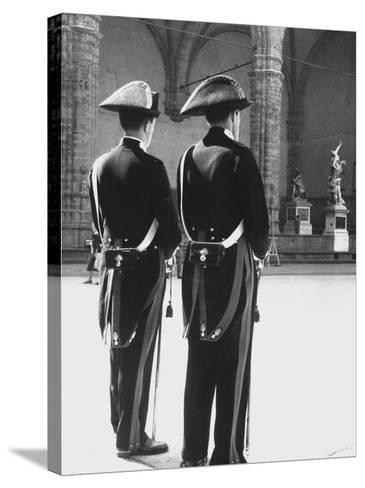 Carabinieri in the Piazze Della Signoria in Florence-Vincenzo Balocchi-Stretched Canvas Print