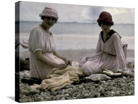 Two Women Sitting on the Beach-Henrie Chouanard-Stretched Canvas Print