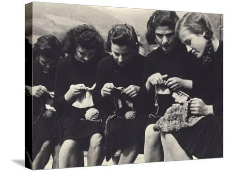 Young Women Knitting-A^ Villani-Stretched Canvas Print