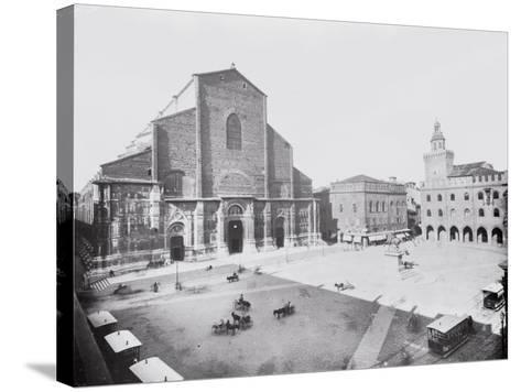 Piazza Maggiore and a View of the Church of San Petronio in Bologna-A^ Villani-Stretched Canvas Print