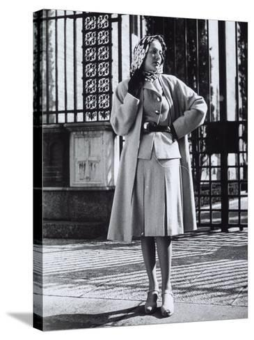 Model Wearing a Suit and Wool Coat by Sartoria Moretti-A^ Villani-Stretched Canvas Print