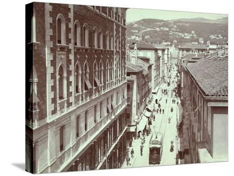 Aerial View of Via St. Antonio, in Trieste, with the Hill of Scorcola-Giuseppe Wulz-Stretched Canvas Print
