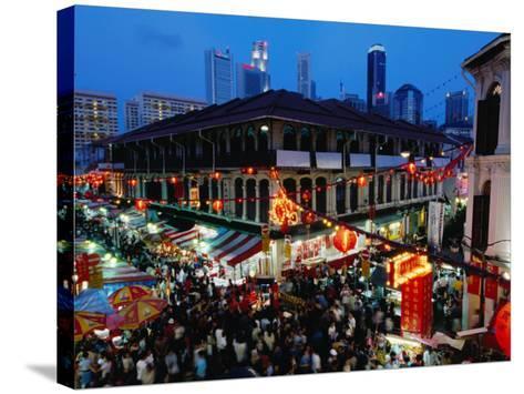 Chinatown District at Dusk, Singapore, Singapore-Michael Coyne-Stretched Canvas Print