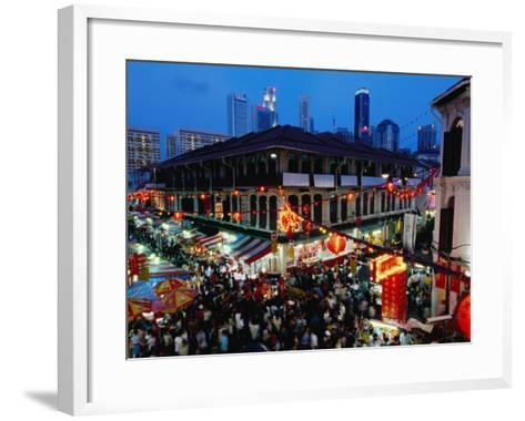 Chinatown District at Dusk, Singapore, Singapore-Michael Coyne-Framed Art Print