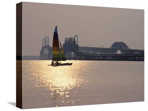 Sunset over Chesapeake Bay Bridge-Stephen St^ John-Stretched Canvas Print