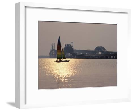 Sunset over Chesapeake Bay Bridge-Stephen St^ John-Framed Art Print